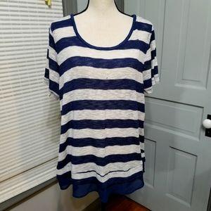Lane Bryant Chiffon Trim Sheer Knit Sweater